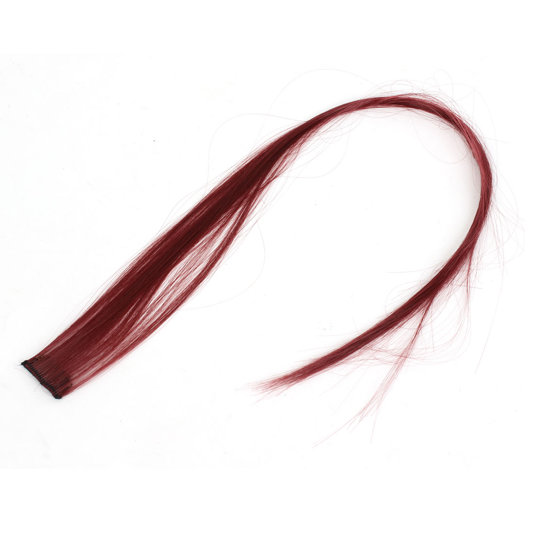 Cosplay 55cm Length Straight Artificial Clip-On Hairpiece Wig Ponytail Ornament Dark Red