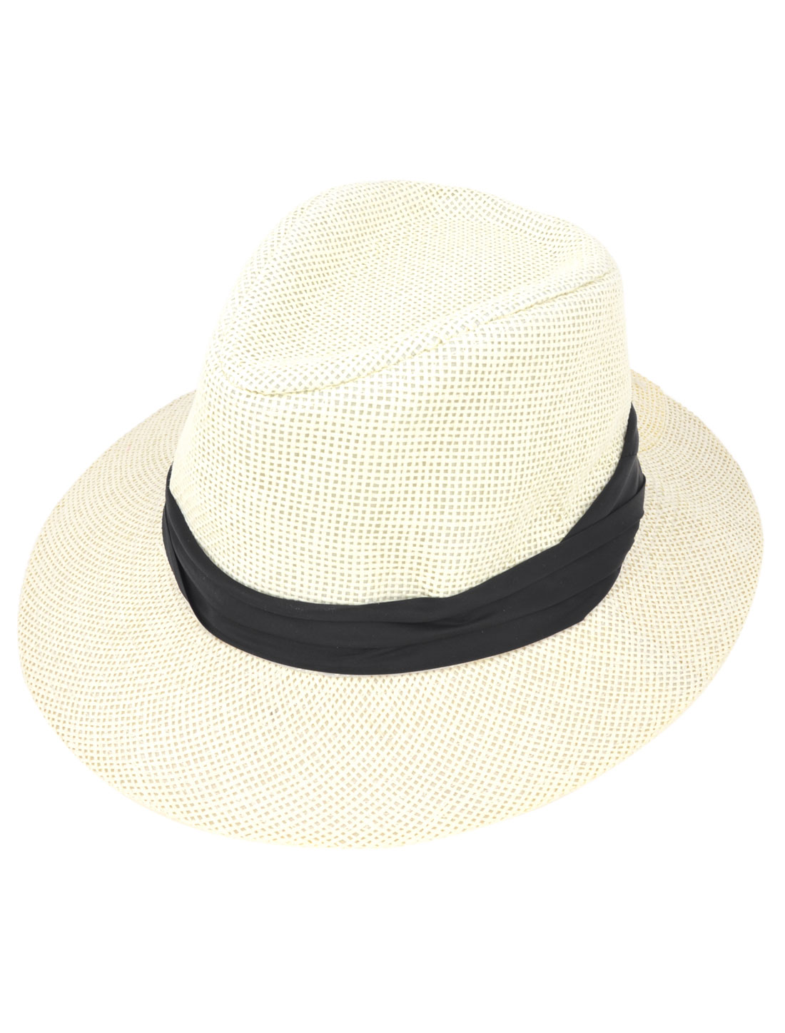Head Detailing Round Fedora Rolled Brim Cap Stroll Hat Ivory for Man