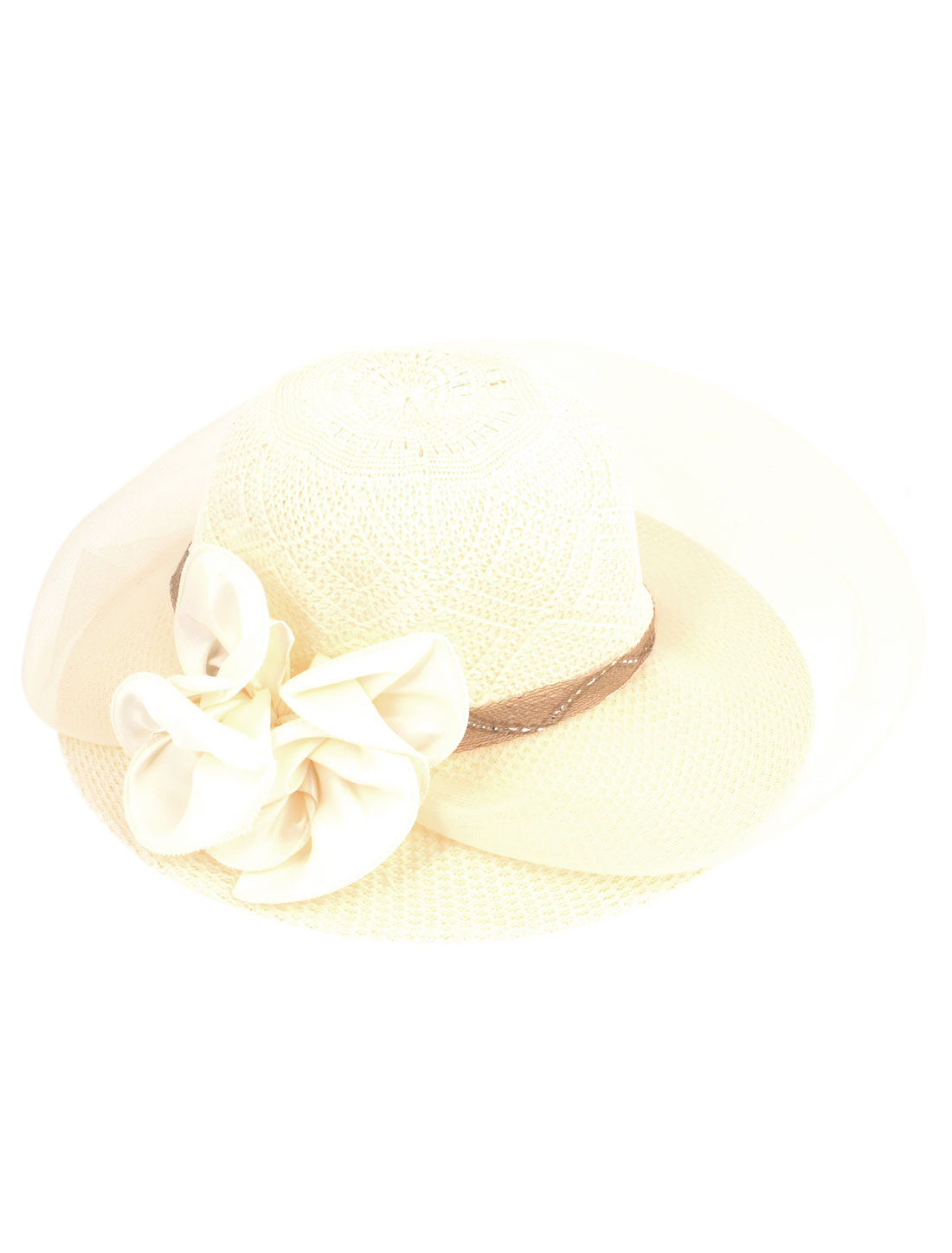 10cm Wide Brim Flower Decoration Mesh Cover Summer Beach Hat Cap Ivory for Lady