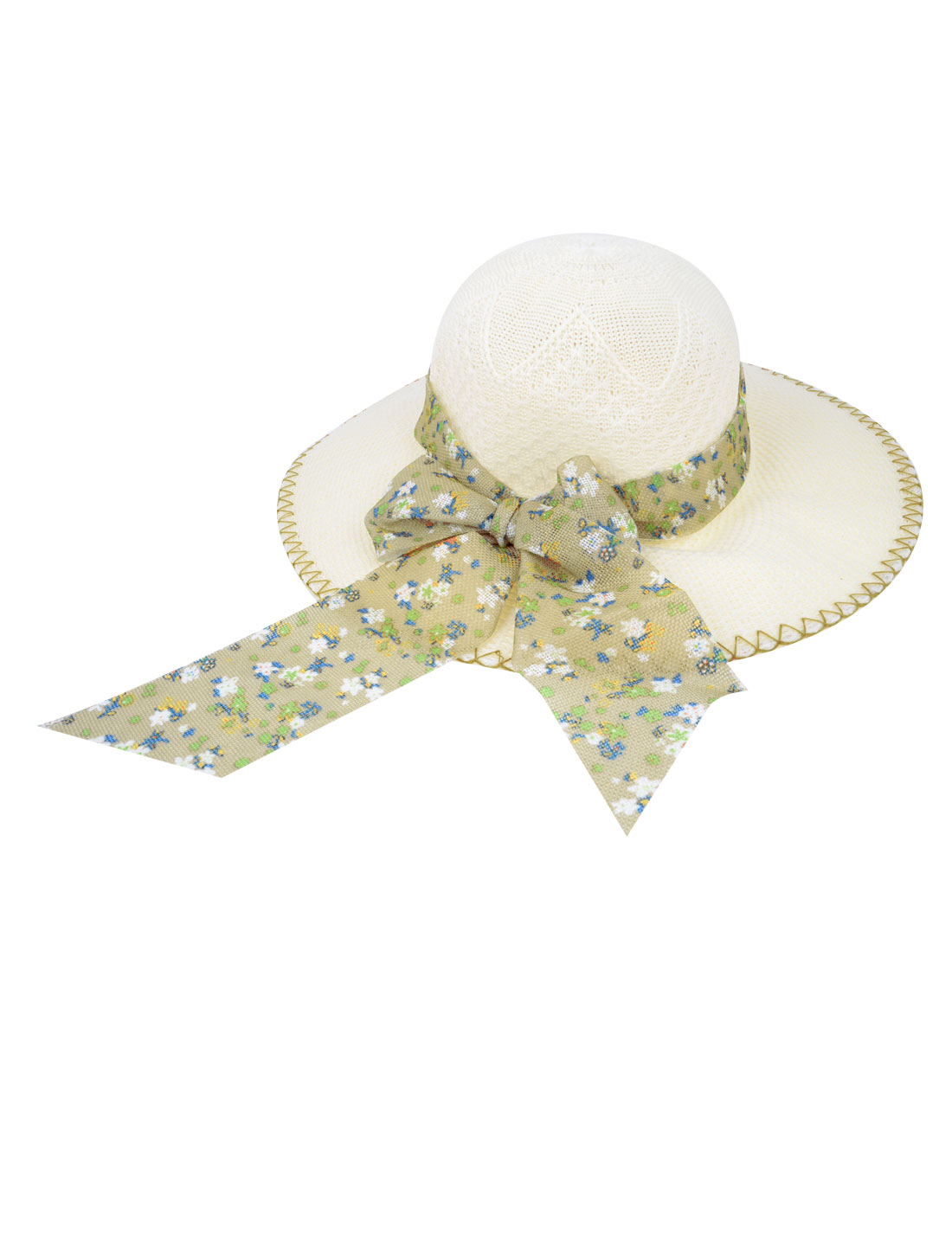 "4"" Wide Brim Bowknot Ornament Summer Beach Sun Hat Cap Ivory for Women"