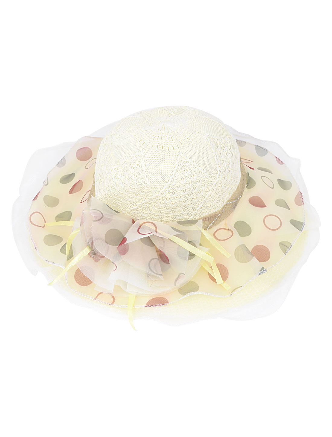 10cm Wide Brim Dots Pattern Chiffon Cover Summer Beach Hat Cap Ivory for Lady