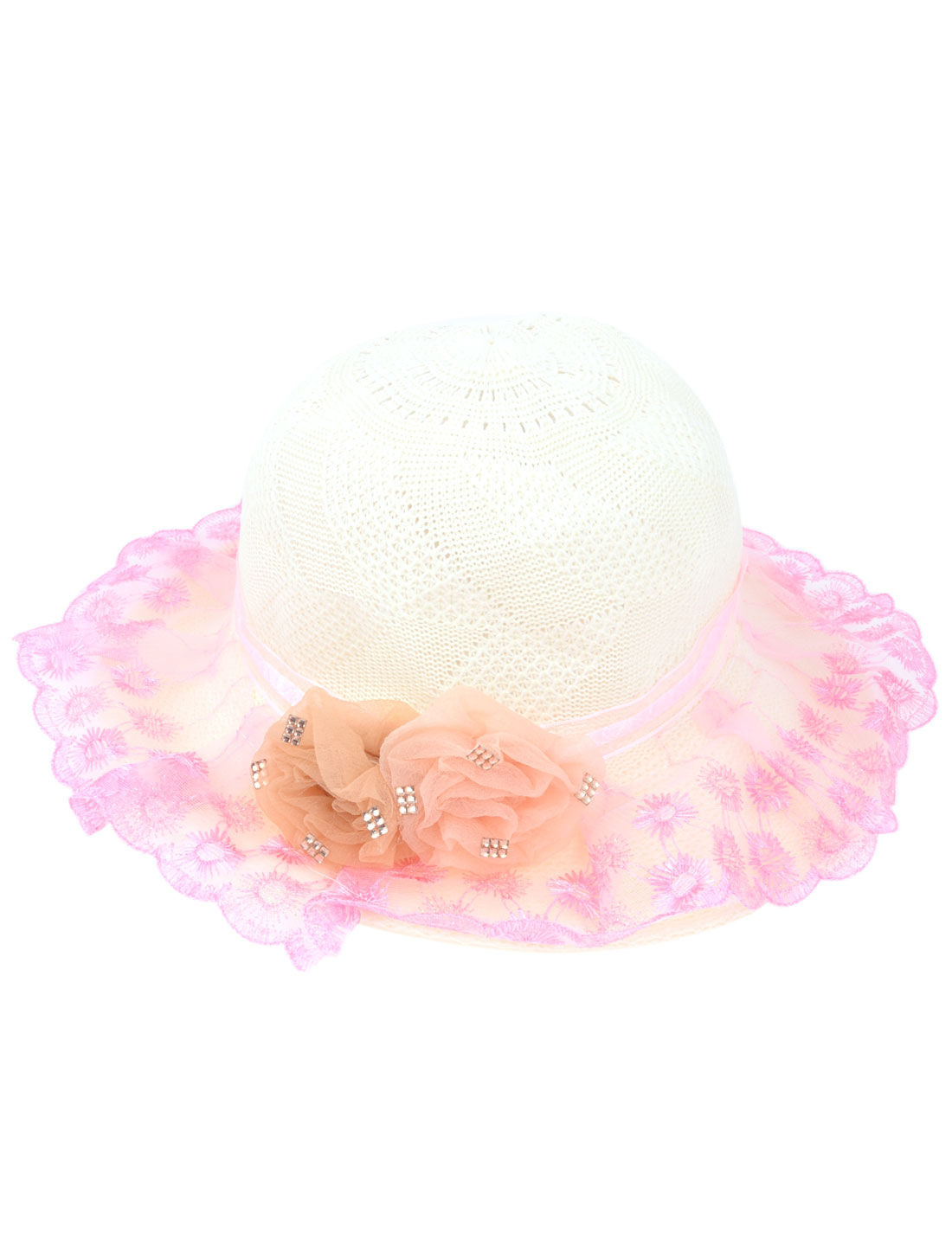 "4"" Wide Brim Floral Decor Pink Lace Cover Summer Beach Hat Cap Ivory for Lady"