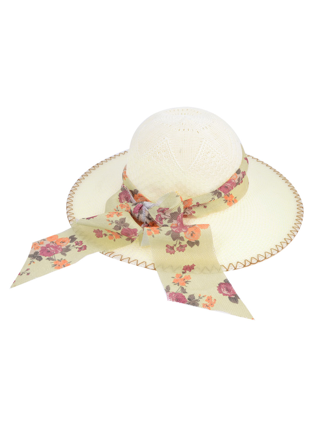 10cm Wide Brim Flower Print Bowtie Decor Summer Beach Hat Cap Ivory for Lady