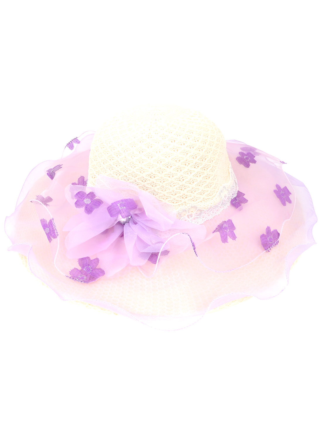 10cm Wide Brim Floral Pattern Organza Cover Summer Beach Hat Cap Ivory for Ladies