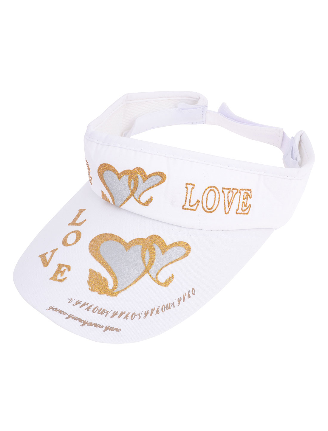 Traveling Heart Letter Printed Adjustable Top Open Sun Visor Cap White for Lady