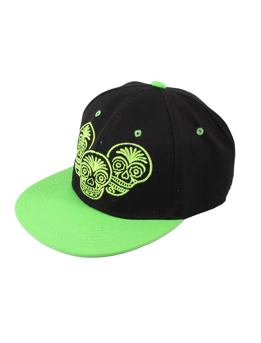 Unisex Green Three Skull Detailed Adjustable Hip-hop Cricket Ball Golf Tennis Baseball Sun Visor Cap