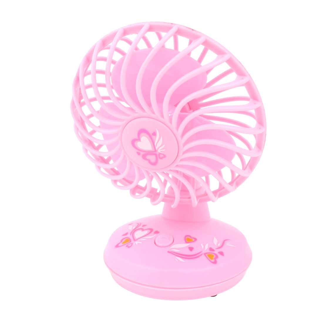 Office Traveling 3 Flabellums PC Laptop Desktop Notebook Pink Plastic Round Shape Press Button Battery USB Fan