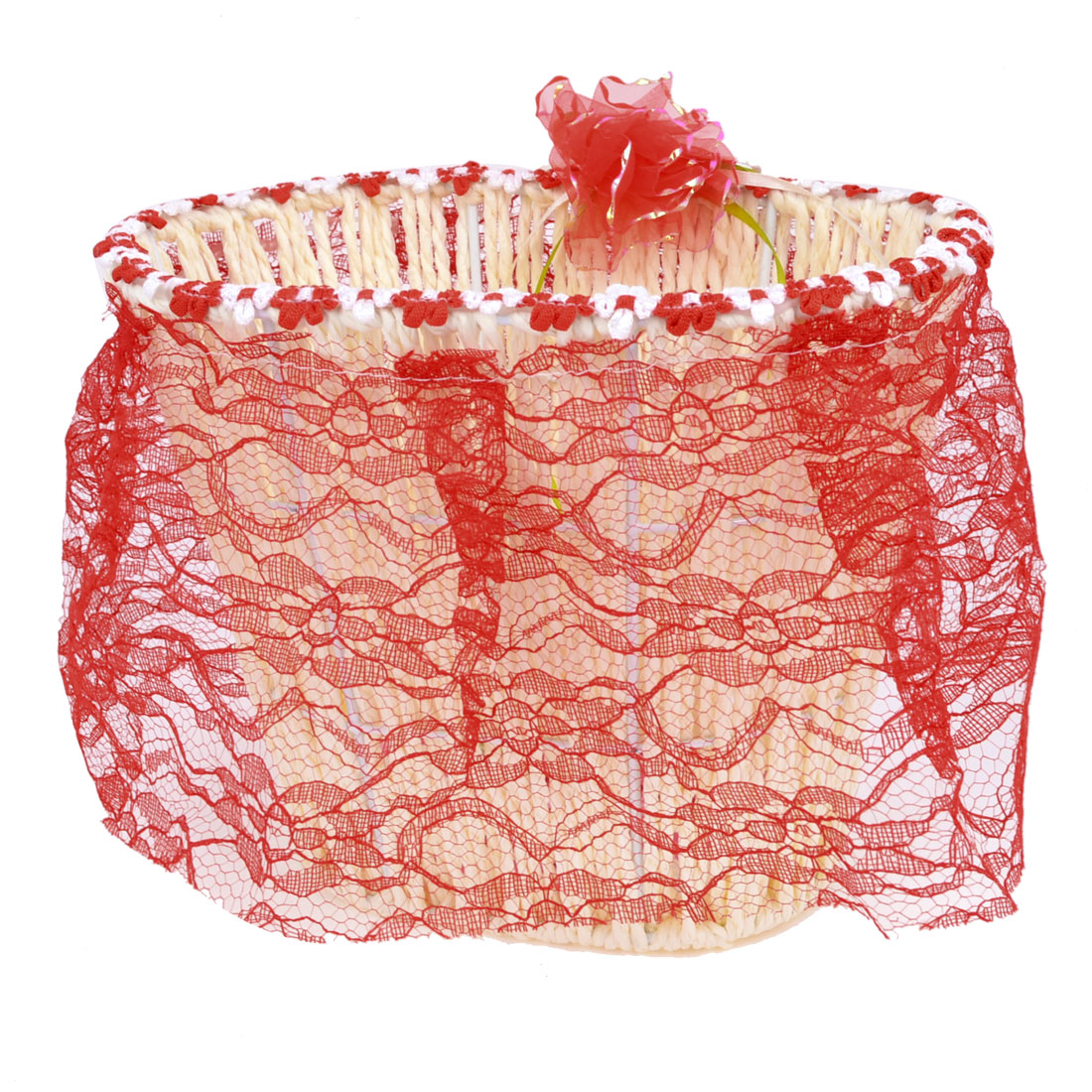 Red Flower Lace Rim Decor Straw String Metal Frame Beige Woven Storage Basket Remote Controller Holder