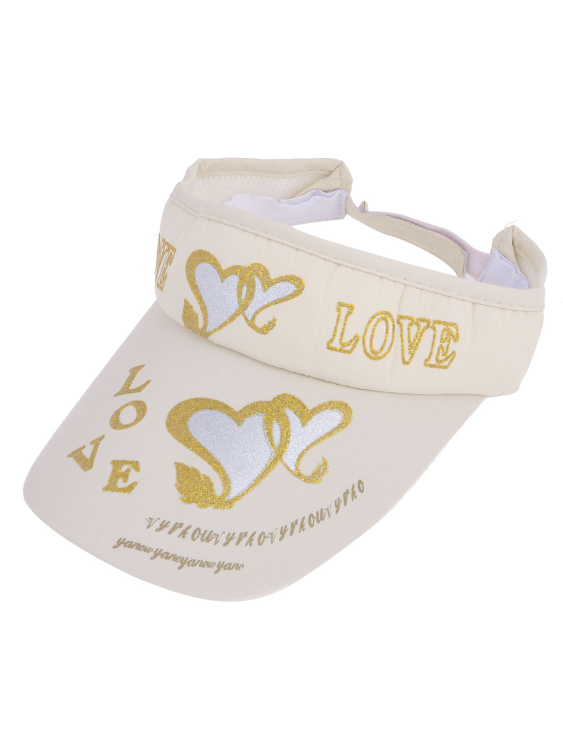 Travel Heart Letter Printed Adjustable Open Top Sun Visor Cap Ivory for Lady
