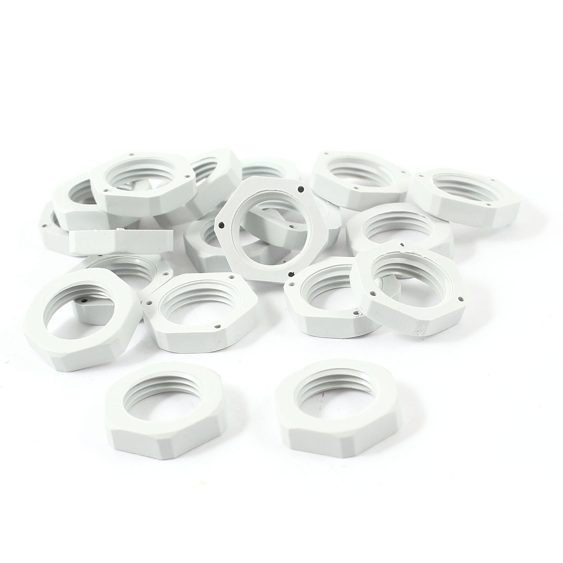 20 PCS 16mm x 21mm Gray Plastic Hex Head Female Thread Pipe Hose Tube Fastener Screw Nut