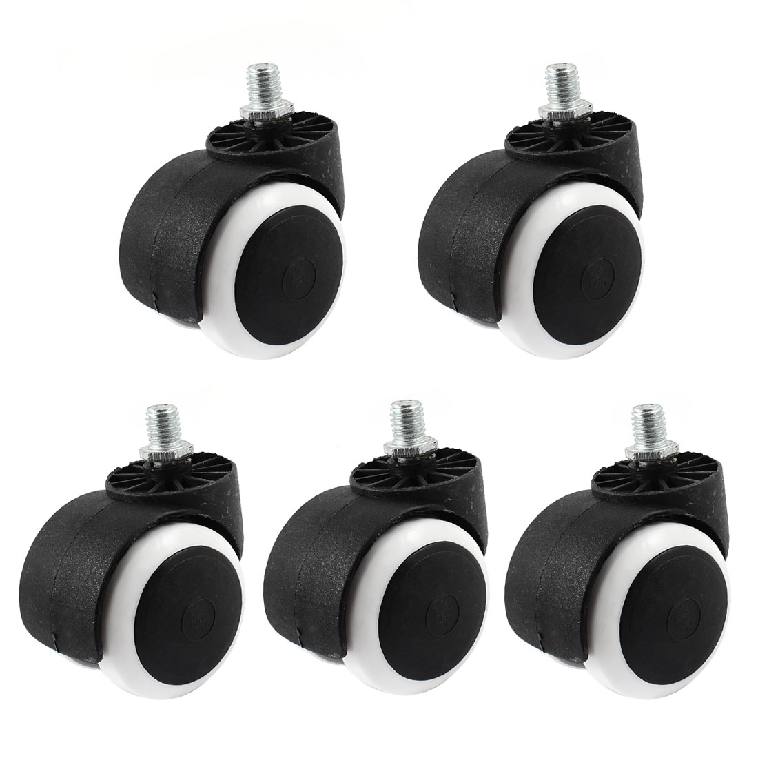 5pcs 11mm Lock Shaft Dia Plasltic Double Grip Ring Stem Caster Wheel for Office Chair Shopping Carts