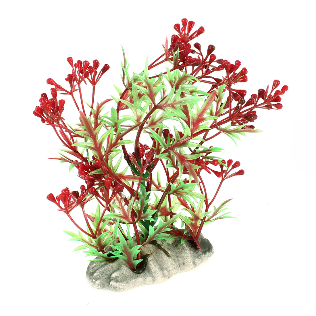 Aquarium Tanks Aquascaping Green Red Plastic Adorn Underwater Plant 15cm