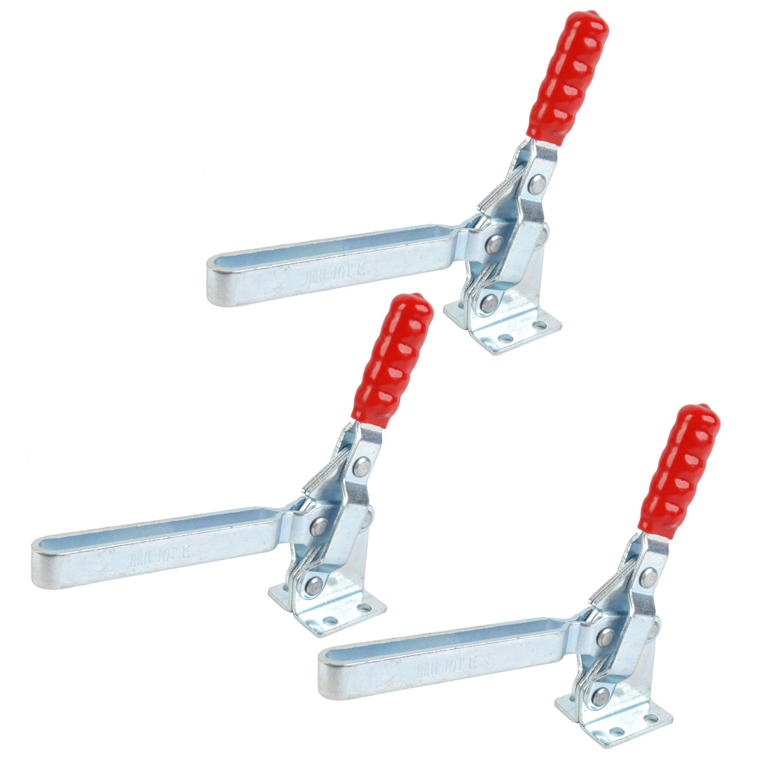 3 Pcs 101-E 180Kg 396 Lbs U Shaped Bar Flange Base Quick Release Holding Red Straight Handle Vertical Toggle Clamp