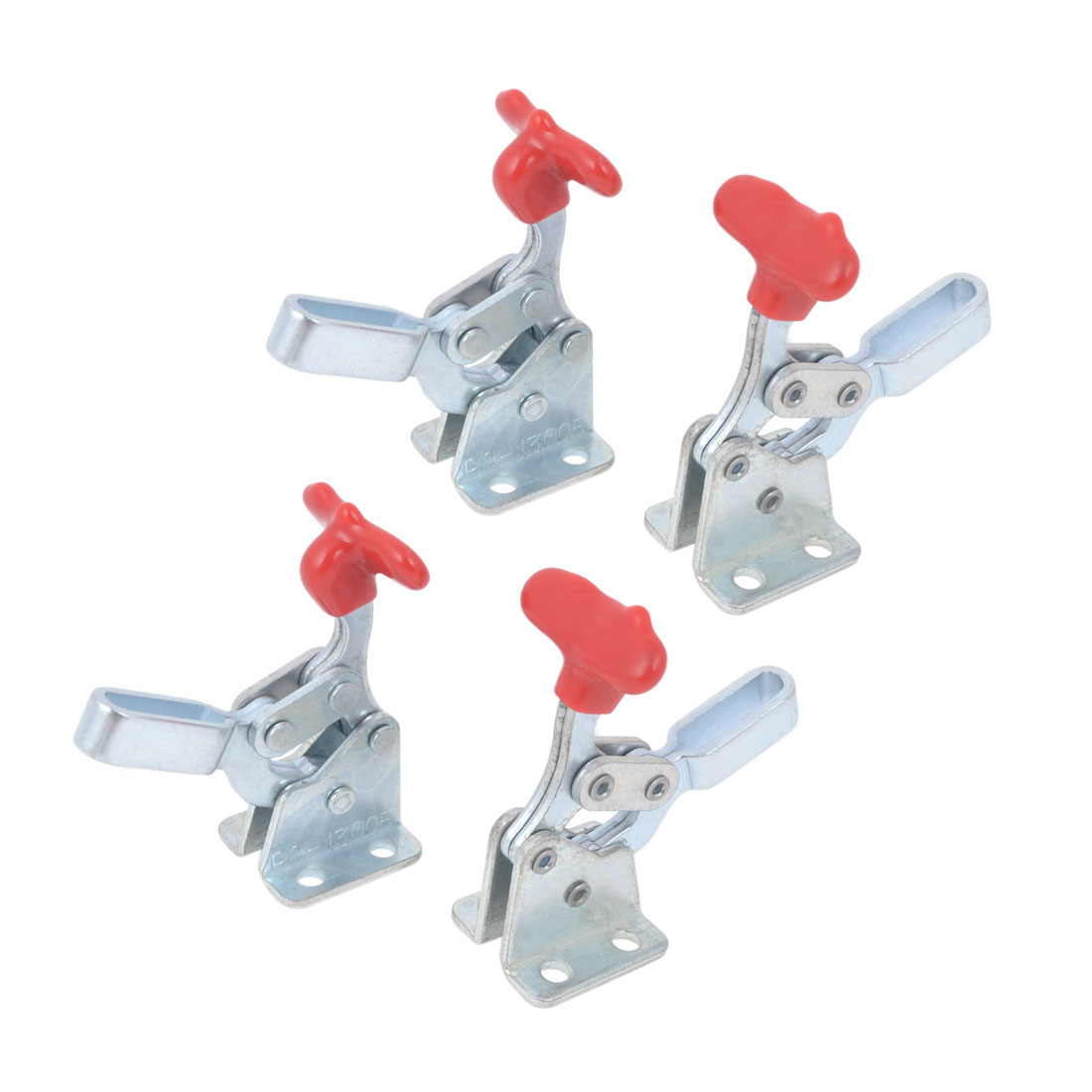 4 Pcs U Shaped Bar Hand Tool Red Grip Flanged Base Horizontal Quickly Holding Toggle Clamp 68Kg 150Lbs PC-13005