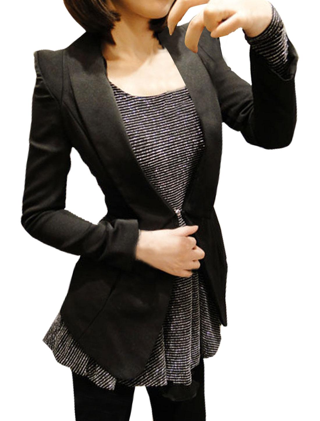 Women Shawl Lapel Padded Shoulder Back Vent Elegant Blazer Black XL