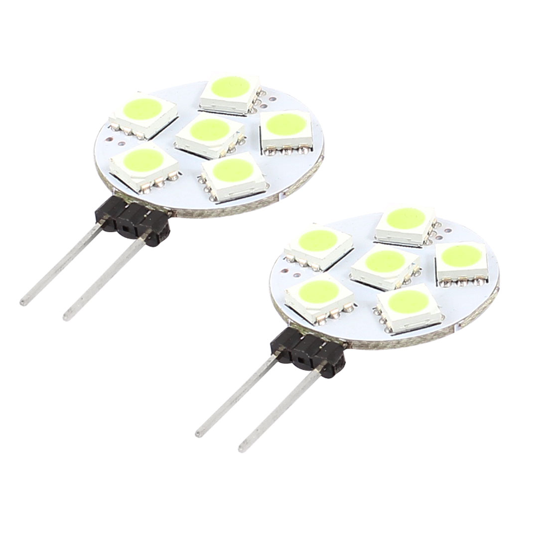 2 Pcs Car G4 6 LED 5050 SMD White Cabinet RV Boat light Bulb Lamp Internal