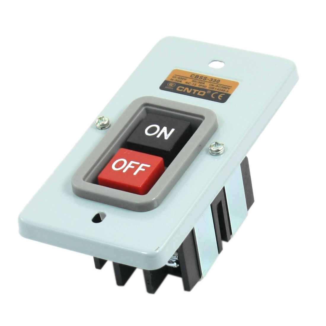 CBSS-315 Ui AC 400V Ith 30A3.7KW anel Mounting ON OFF 6 Screw Terminal Lacthing Metal Power Pushbutton Switch
