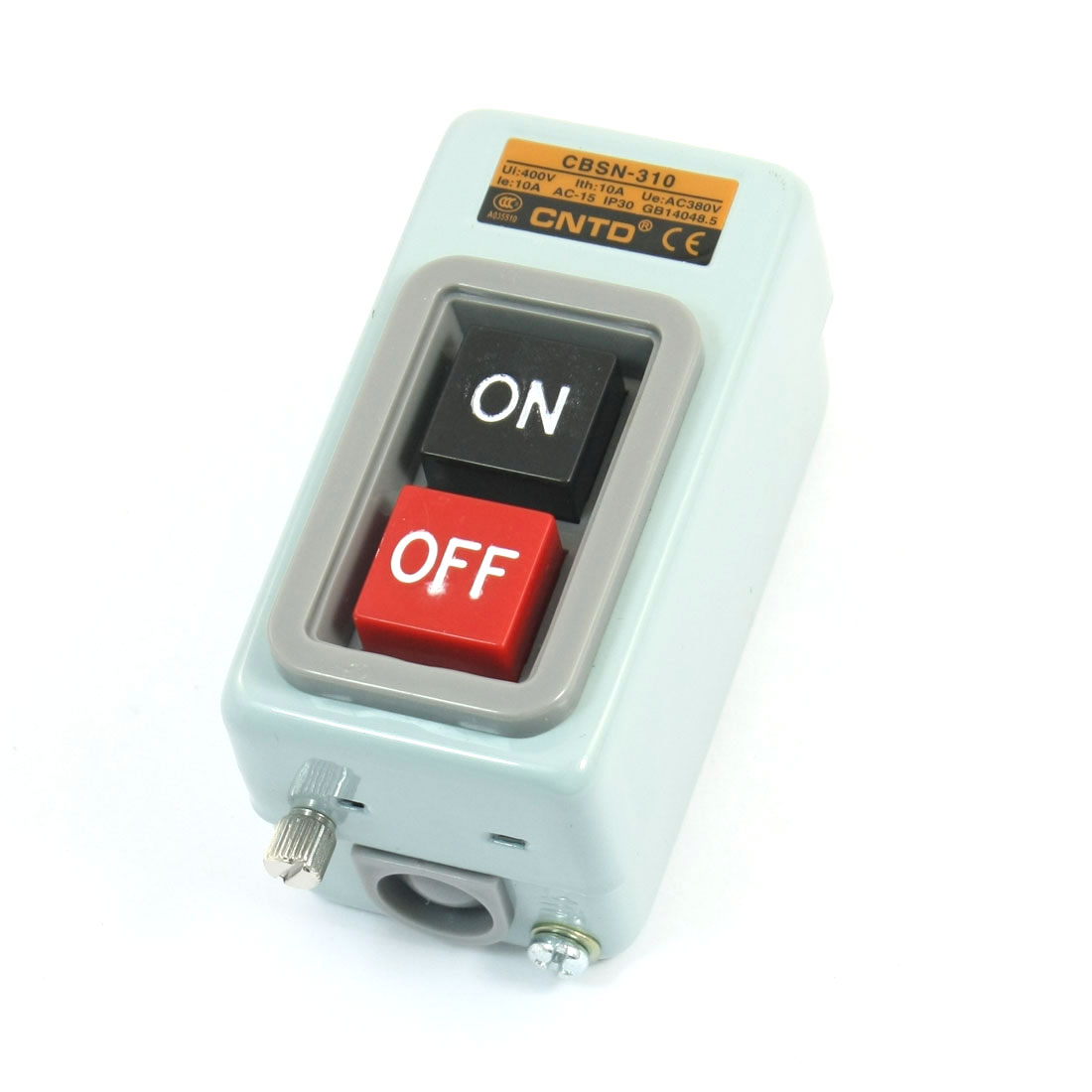 AC400V 10A 1.5KW SPST ON OFF Button Control 6 Screw Terminal 3-Phase Self-Locking Power Push Button Switch