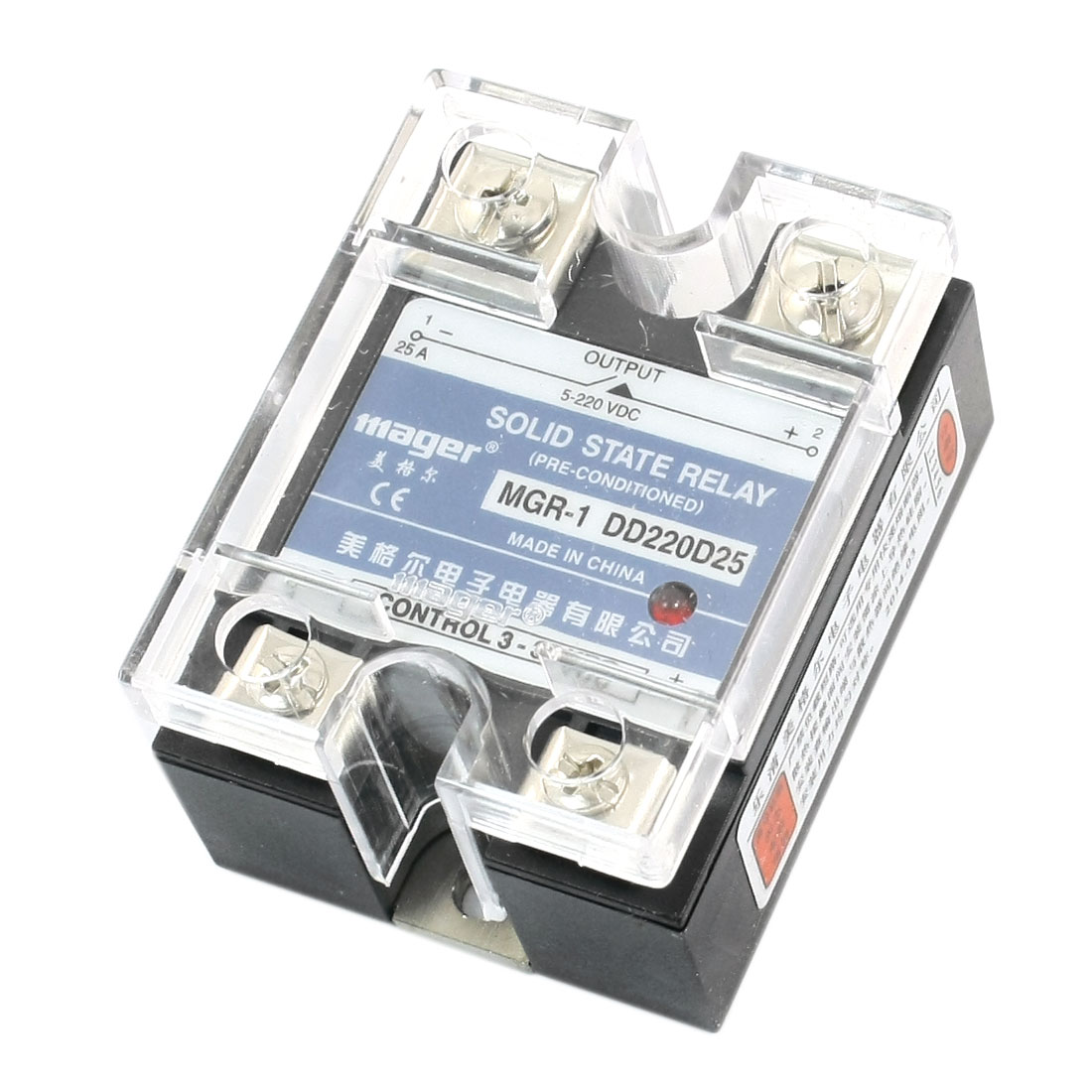 DC-DC 3-32V Input 5-220V 25A Output Rectangle Clear Cover 4 Screw Terminal Single Phase SSR Solid State Relay