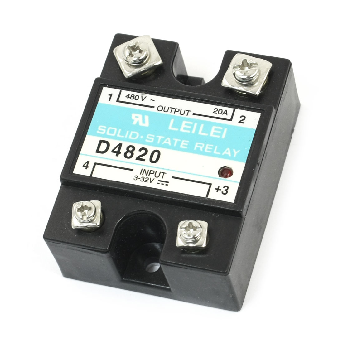 D4820 DC 3-32V to AC 480V 20A 4 Screw Terminal Single Phase Metal Base Temprature Control Solid State Relay
