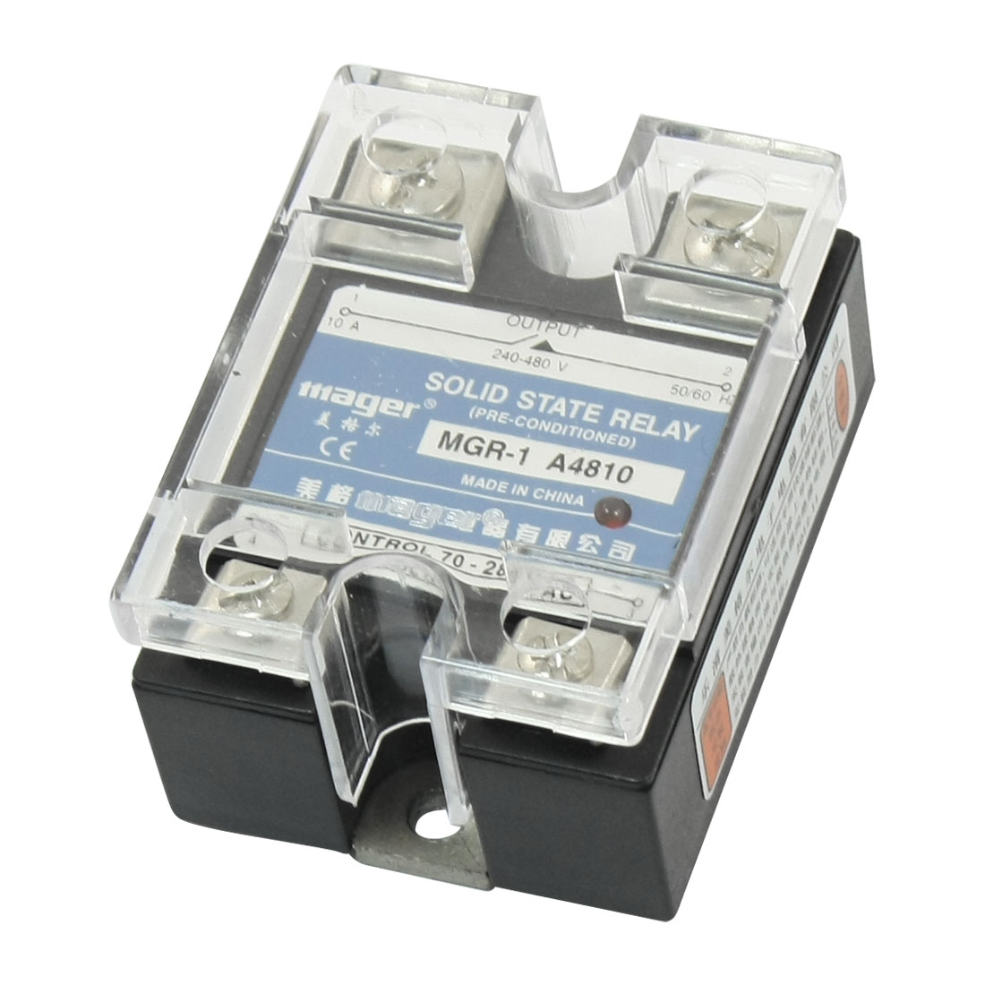 AC70-280V to AC240-280V 10A 4 Screw Terminal Rectangle One Phase SSR Solid State Relay w Clear Cover