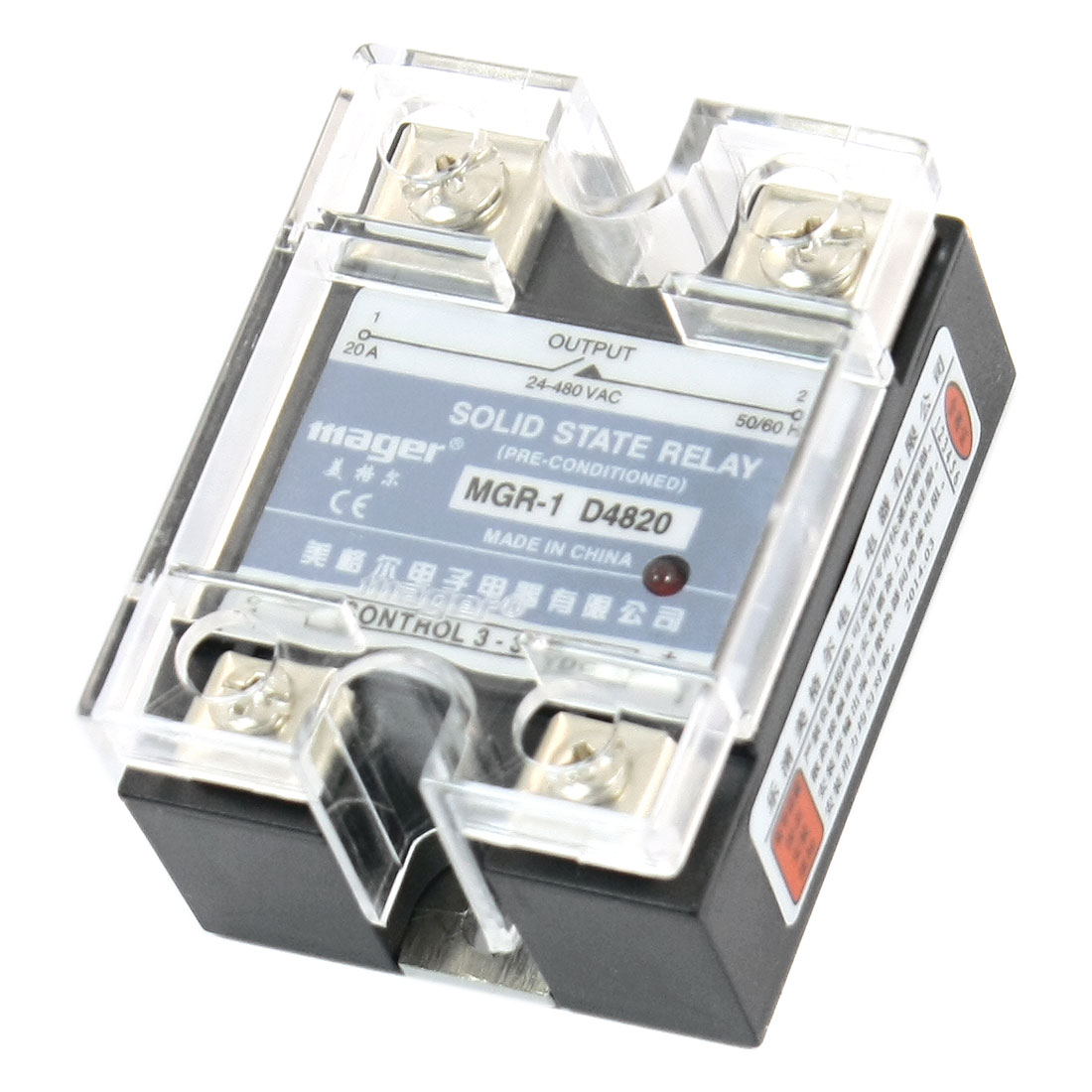 DC 3-32V AC 24-480V 20A Normal Open 4 Screw Terminal Single Phase Rectangle SSR Solid State Relay w Clear Cover