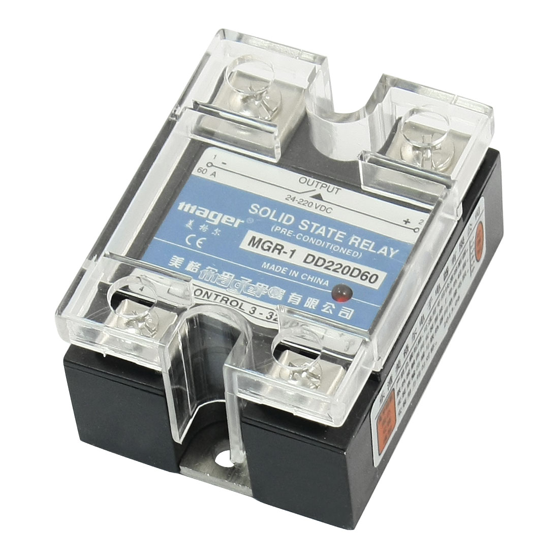 DC-DC 3-32V Input 24-220V 60A Output Rectangle Clear Cover 4 Screw Terminal Single Phase SSR Solid State Relay