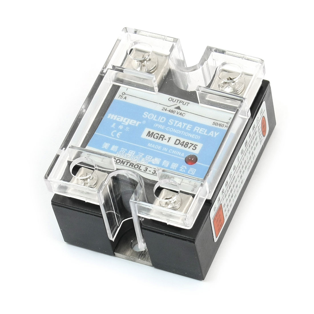 MGR-1 D4875 DC3-32V AC24-480V 75A 4 Screw Terminal Single Phase Normal Open Rectangle Solid State Relay w Clear Cover