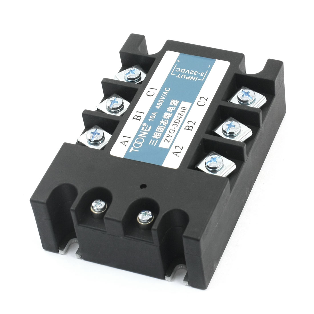 DC 3-32V Input AC 480V 10A Output Red LED Indicator 6 Screw Terminals 3 Phase Metal Base SSR Solid State Relay