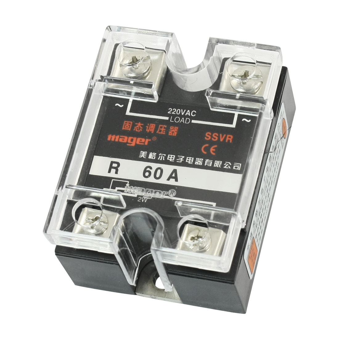 AC220V 60A 2W 470-560K Ohm Resistance Type Single Phase Rectangle Case SSR Solid State Relay Voltage Regulator