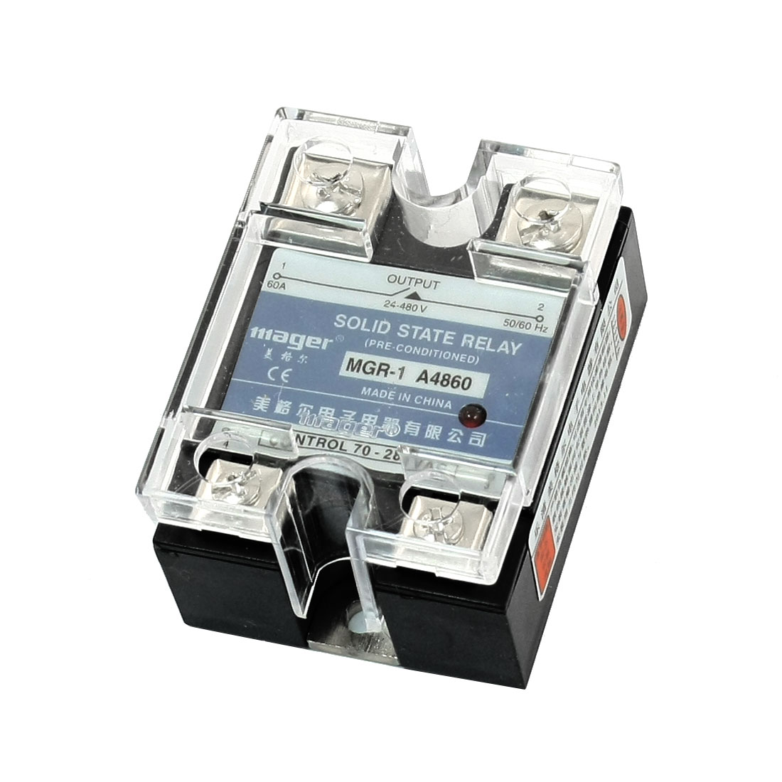 AC to AC Rectangle Clear Cover 4 Screw Terminal Single Phase SSR Solid State Relay 70-280V 24-480V 60A