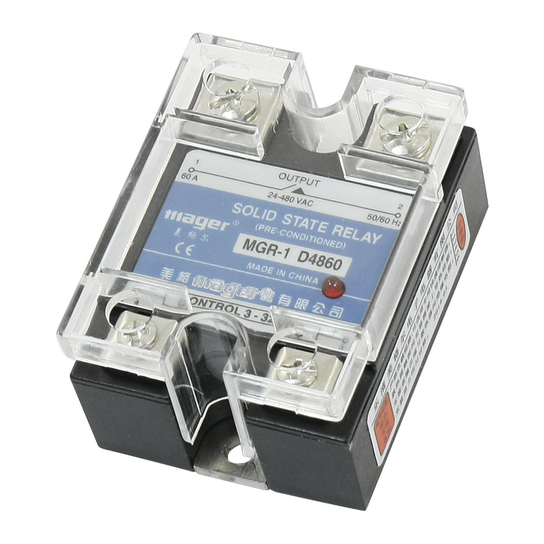 DC to AC 3-32V 24-480V 60A 4 Screw Terminal Single Phase Normal Open SSR Solid State Relay w Clear Cover