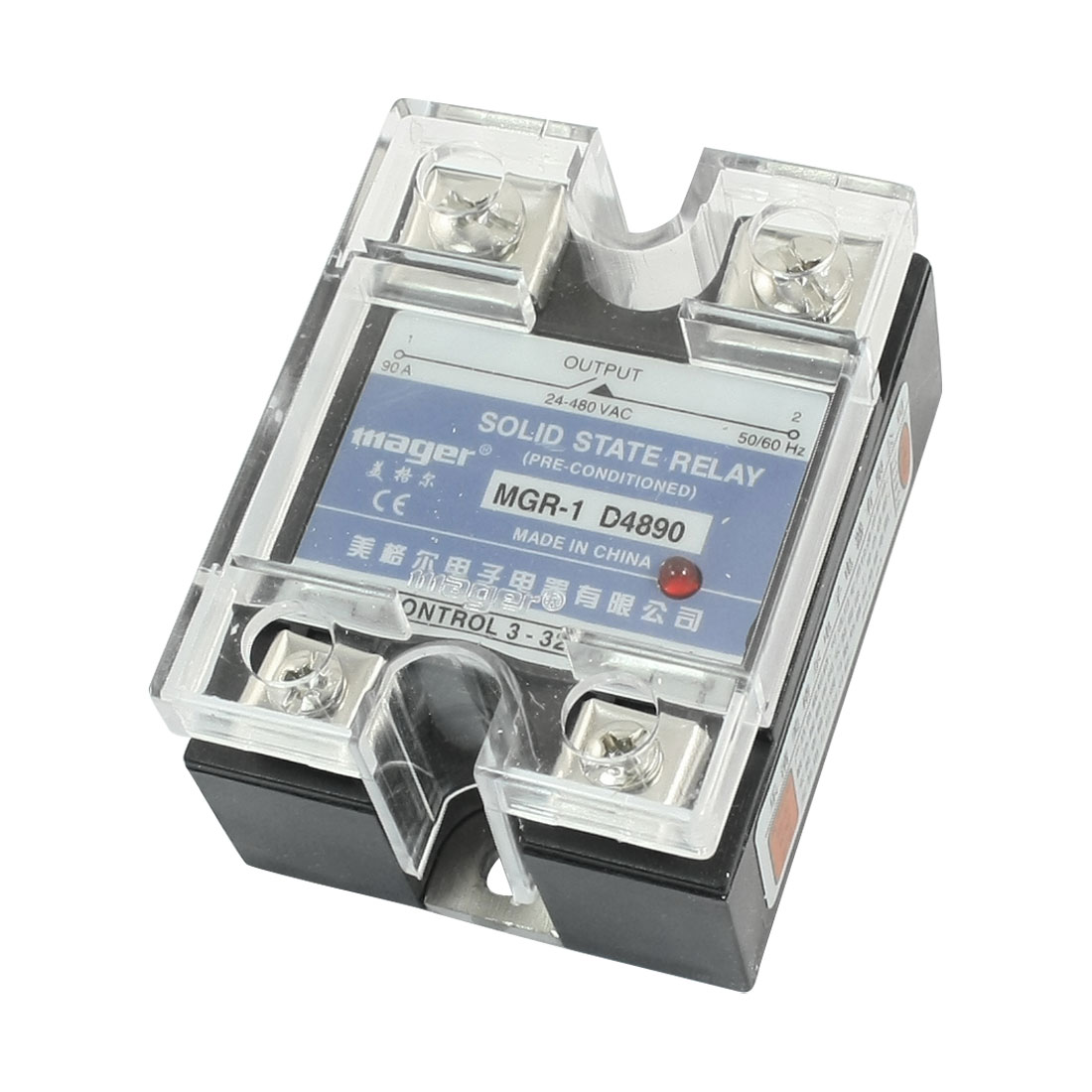DC-AC 3-32V 24-480V 90A Rectangle Clear Cover 4 Screw Terminal Single Phase SSR Solid State Relay