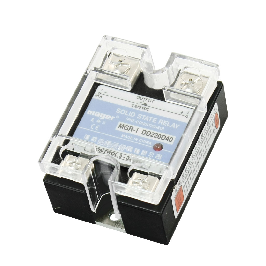 MGR-1DD220D40 DC-DC DC3-32V DC5-220V 40A 4 Screw Terminal Single Phase Clear Cover SSR Solid State Relay
