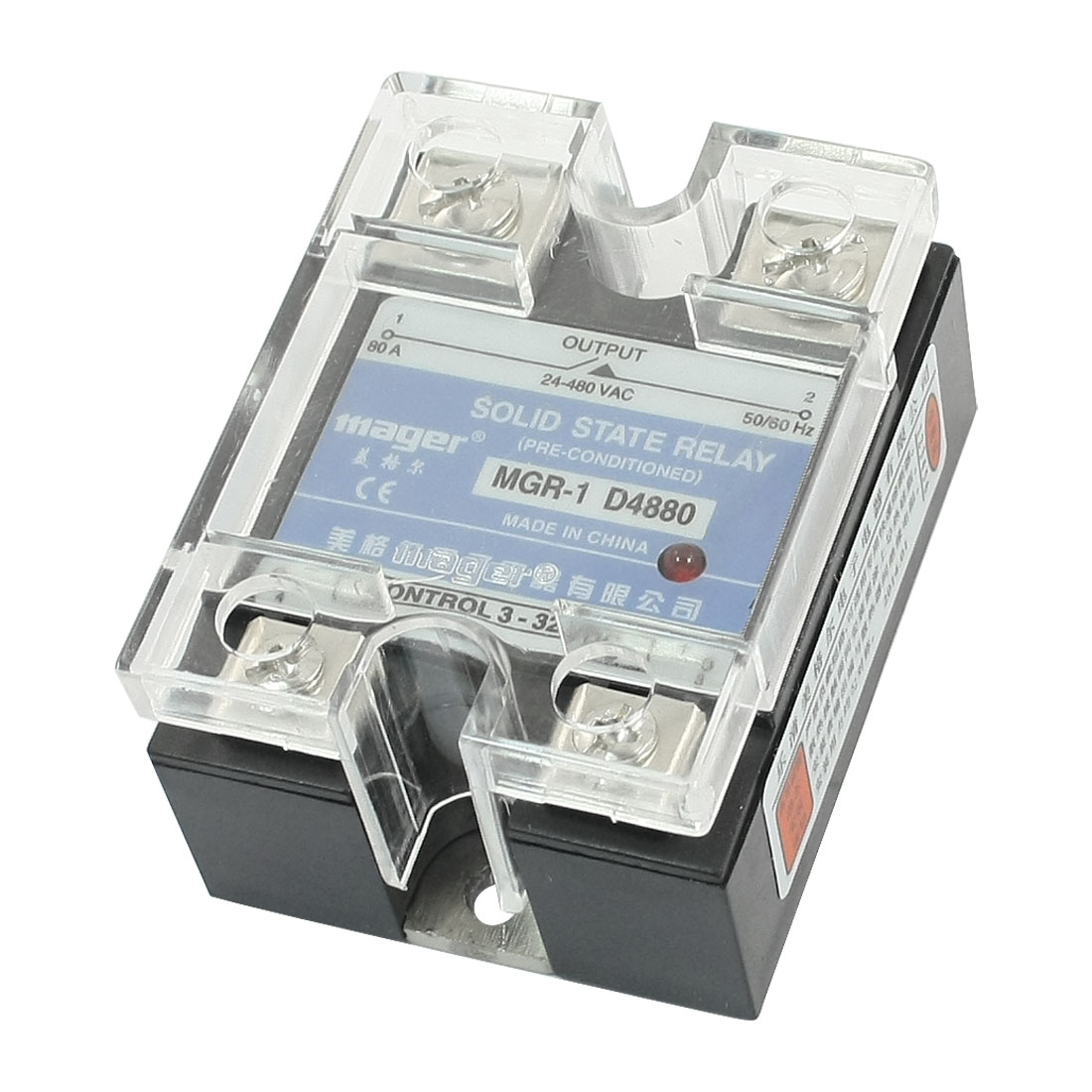 DC-AC 3-32V Input 24-480V 60A Output Rectangle Clear Cover 4 Screw Terminal Single Phase SSR Solid State Relay