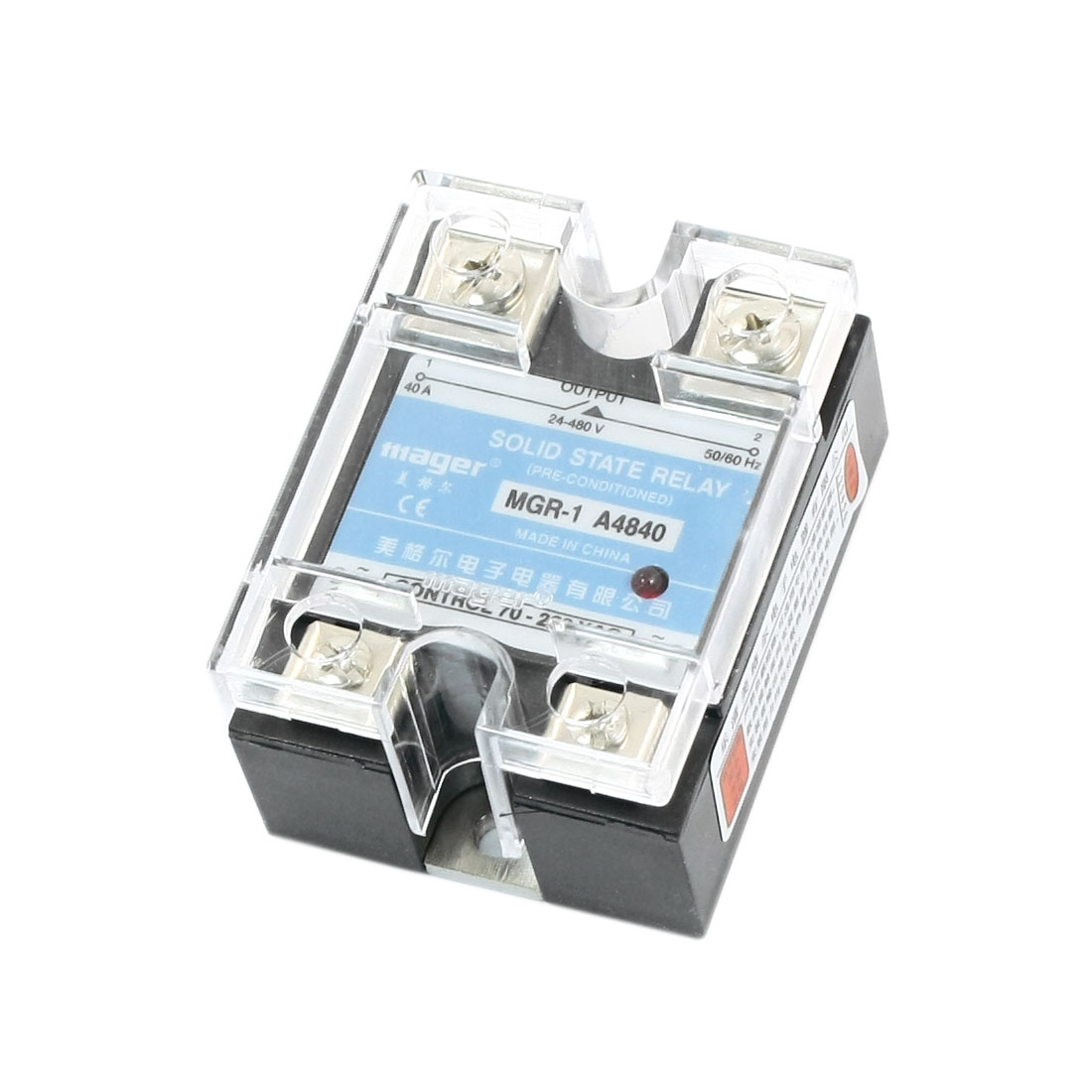 AC70-280V Input AC24-480V 40A Output Normal Open Clear Cover 4 Screw Terminal One Phase SSR Solid State Relay