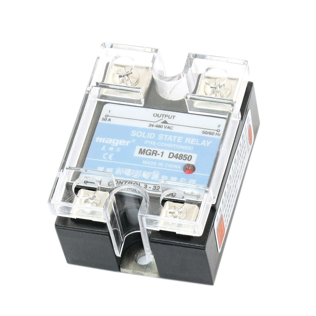 MGR-1 D4850 DC-AC DC3-32V AC24-480V 50A 4 Screw Terminal Single Phase Clear Cover SSR Solid State Relay