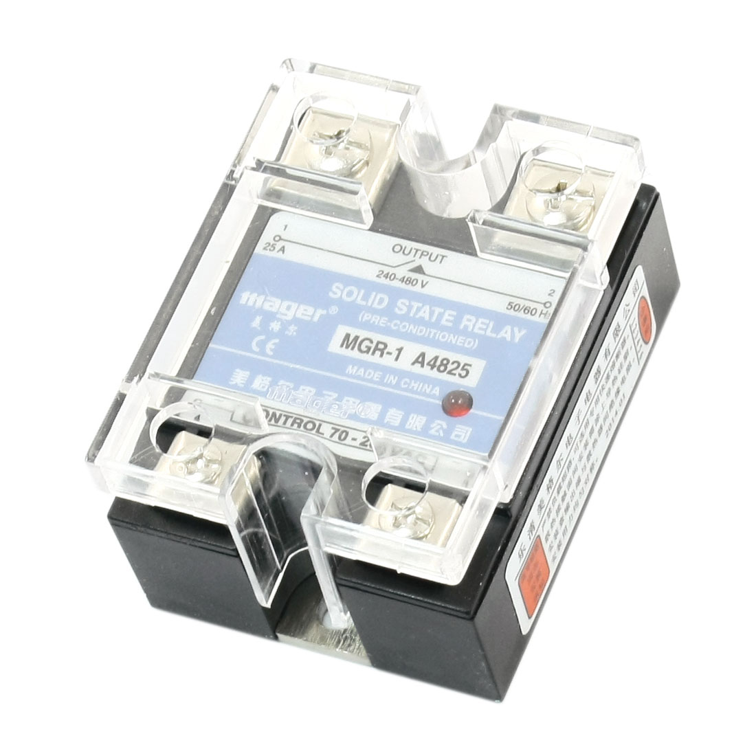 MGR-1 AC-AC AC70-280V AC240-480V 25A 4 Screw Terminal One Phase Clear Plastic Cover SSR Solid State Relay