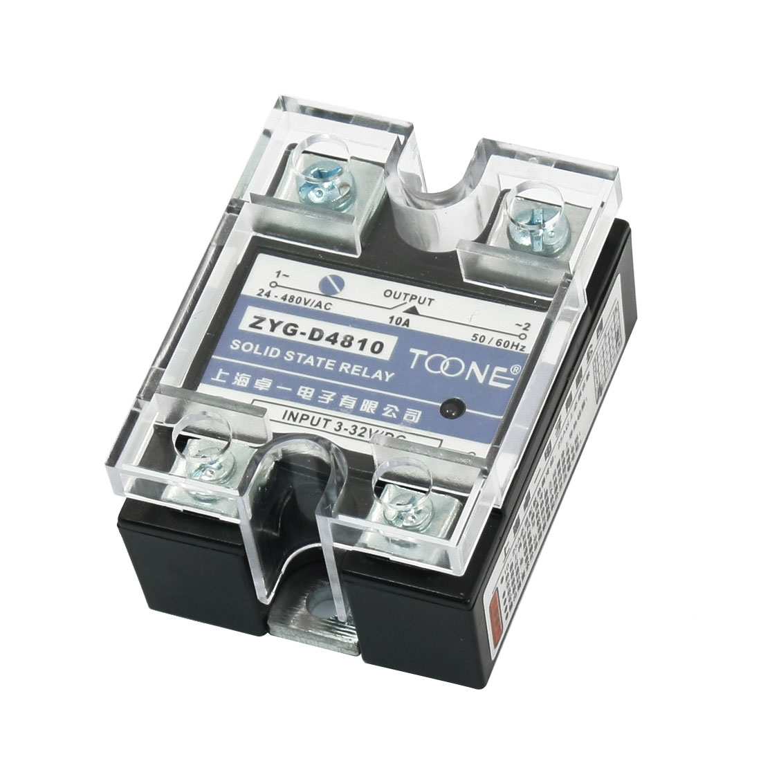 ZYG-D4810 DC 3-32V to AC 24-480V 10A 4 Screw Terminal Rectangle Base Single Phase Solid State Relay w Clear Cover