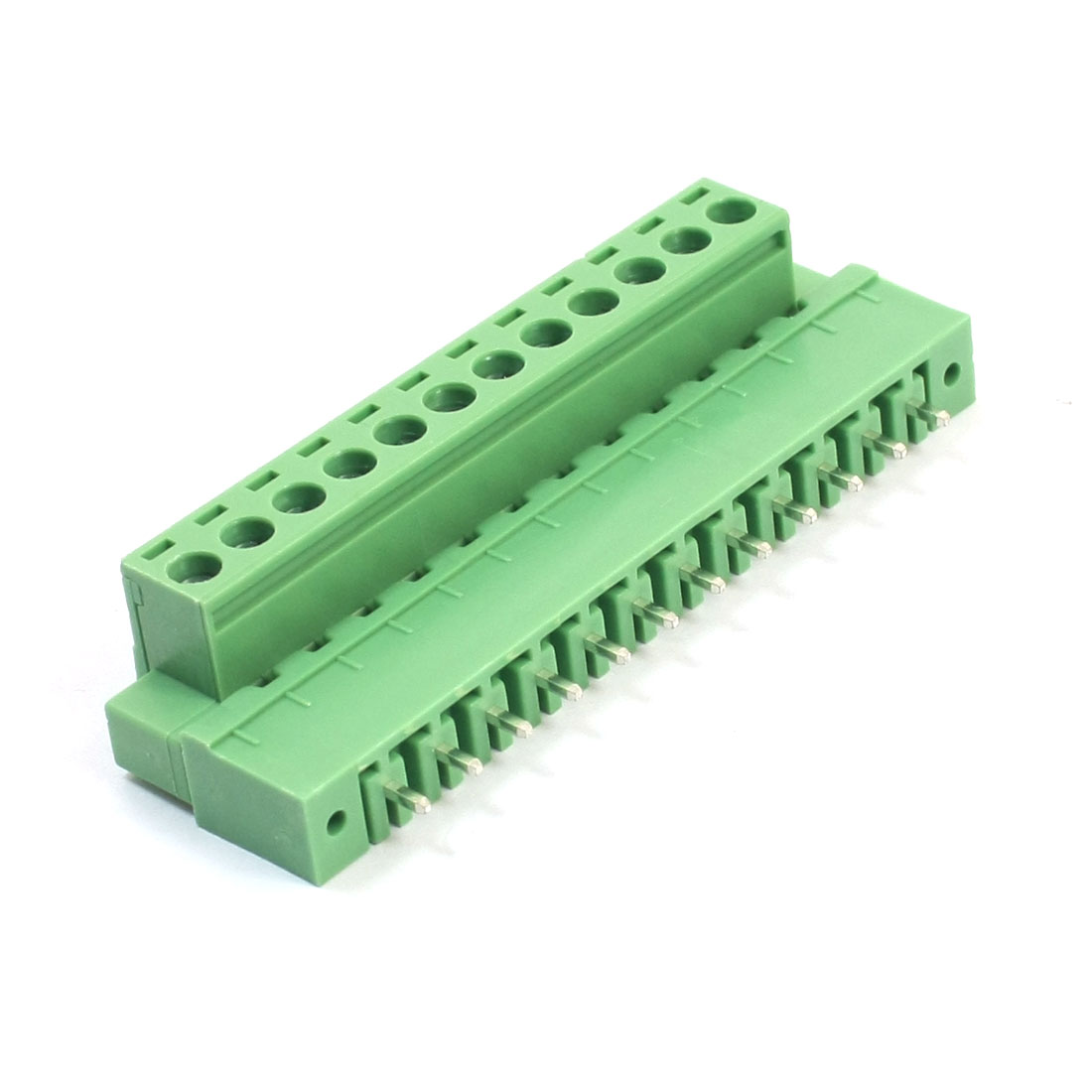300V 10A 5.08mm Spacing 12-Pin 12-Position Pluggable Type PCB Surface Mount Green Plastic Screw Terminal Barrier Block Connector