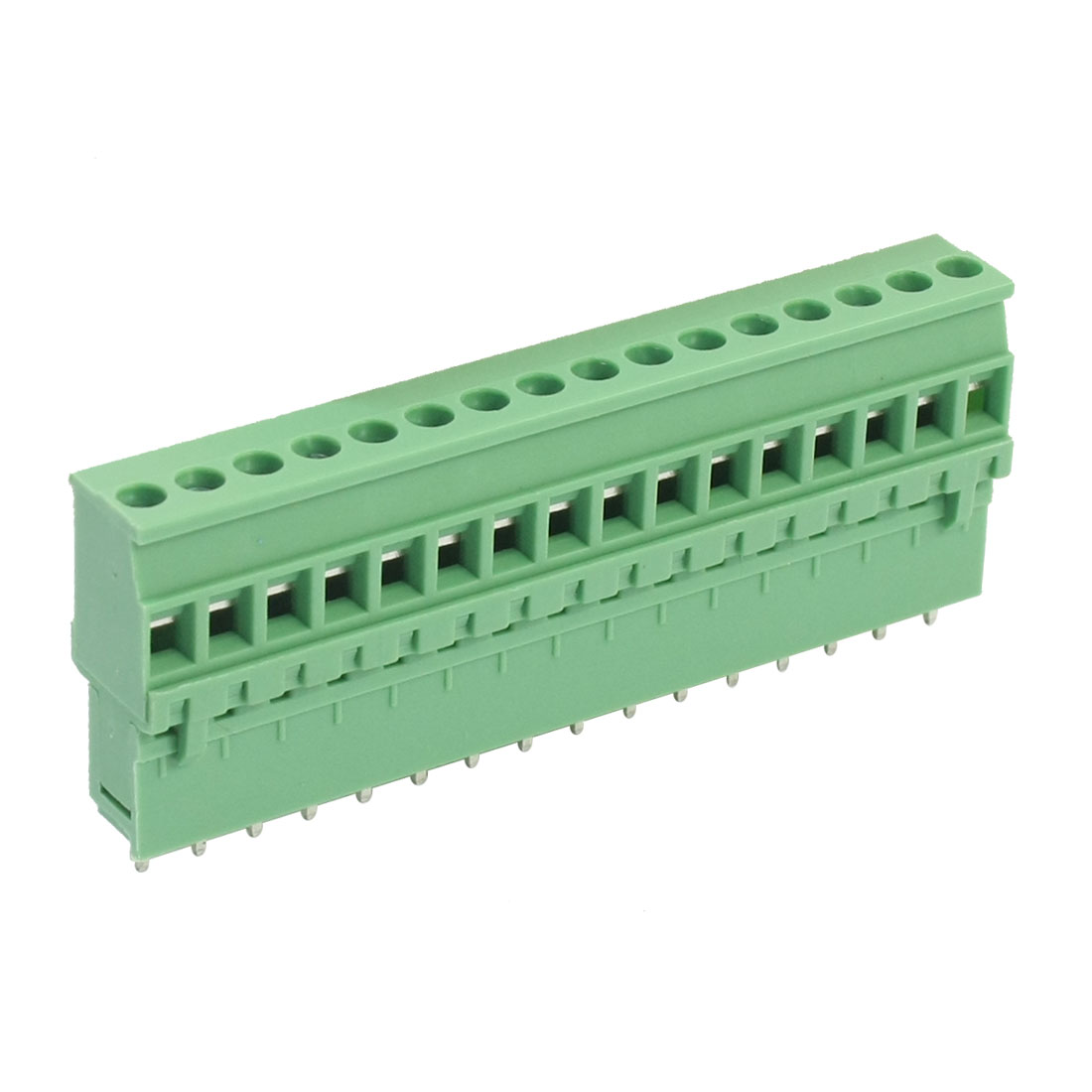 300V 10A 5.08mm Spacing 16-Pin 12-24AWG Pluggable Type PCB Surface Mount Green Plastic PCB Screw Terminal Barrier Block Connector