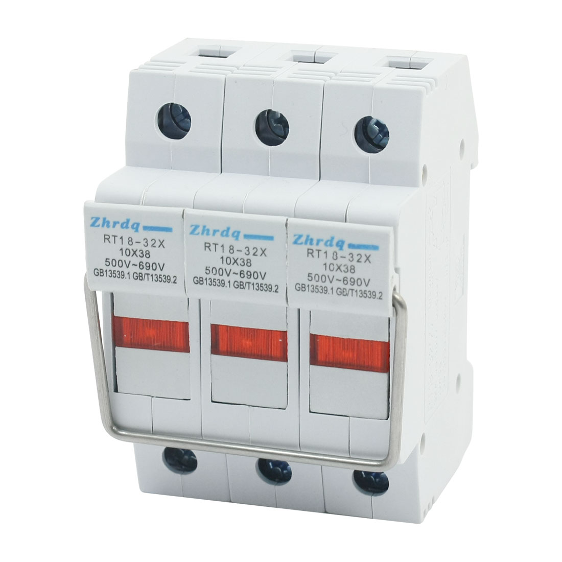 500V 32A 35mm DIN Rail Mounting 3-Pole 3 Phase Red LED Light MCB Miniature Circuit Breaker Protector w Pull Ring
