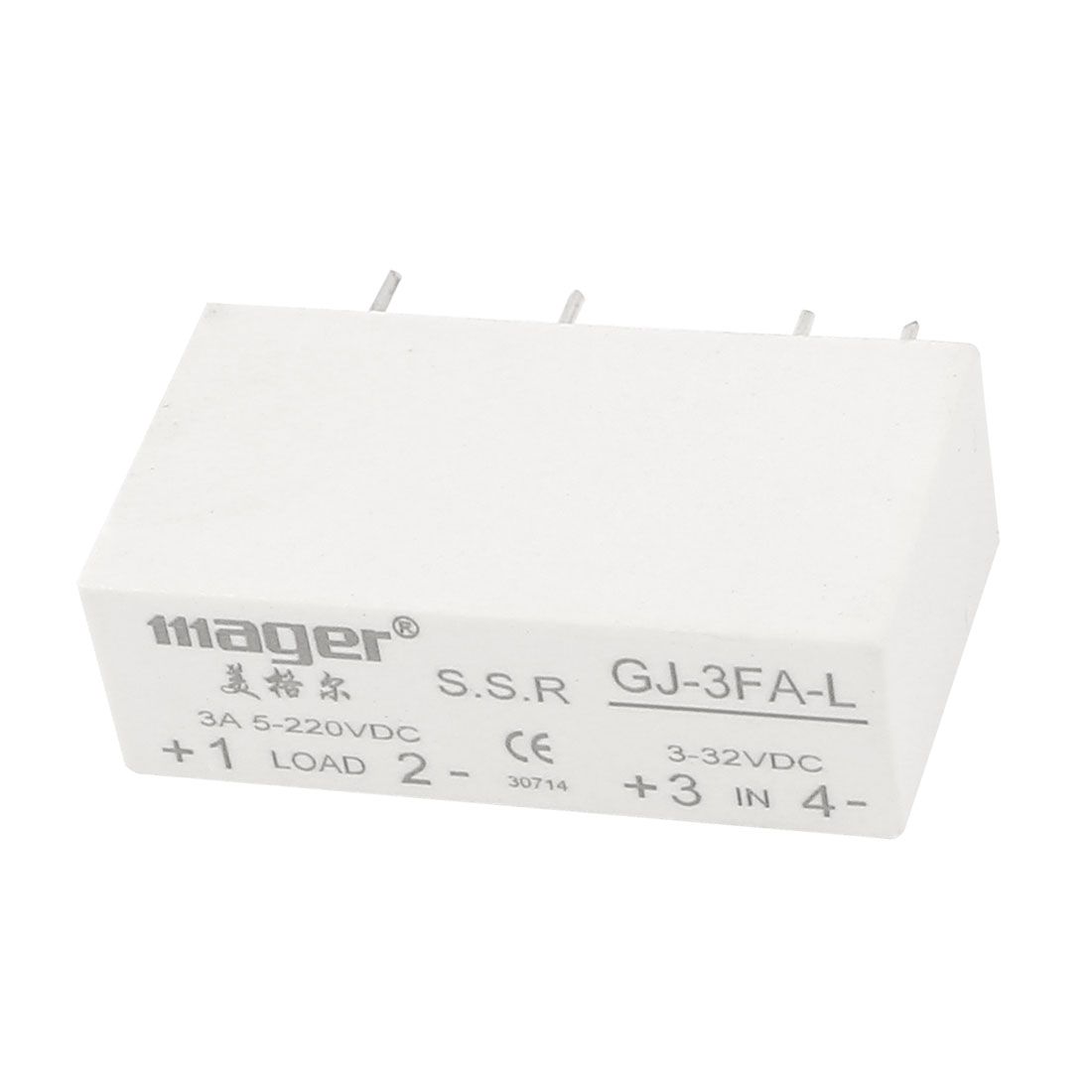 GJ-3FA-L DC3-32V to DC 5-220V 3A 4-Pin PCB Through Hole Rectangle Single Phase SSR Solid State Relay