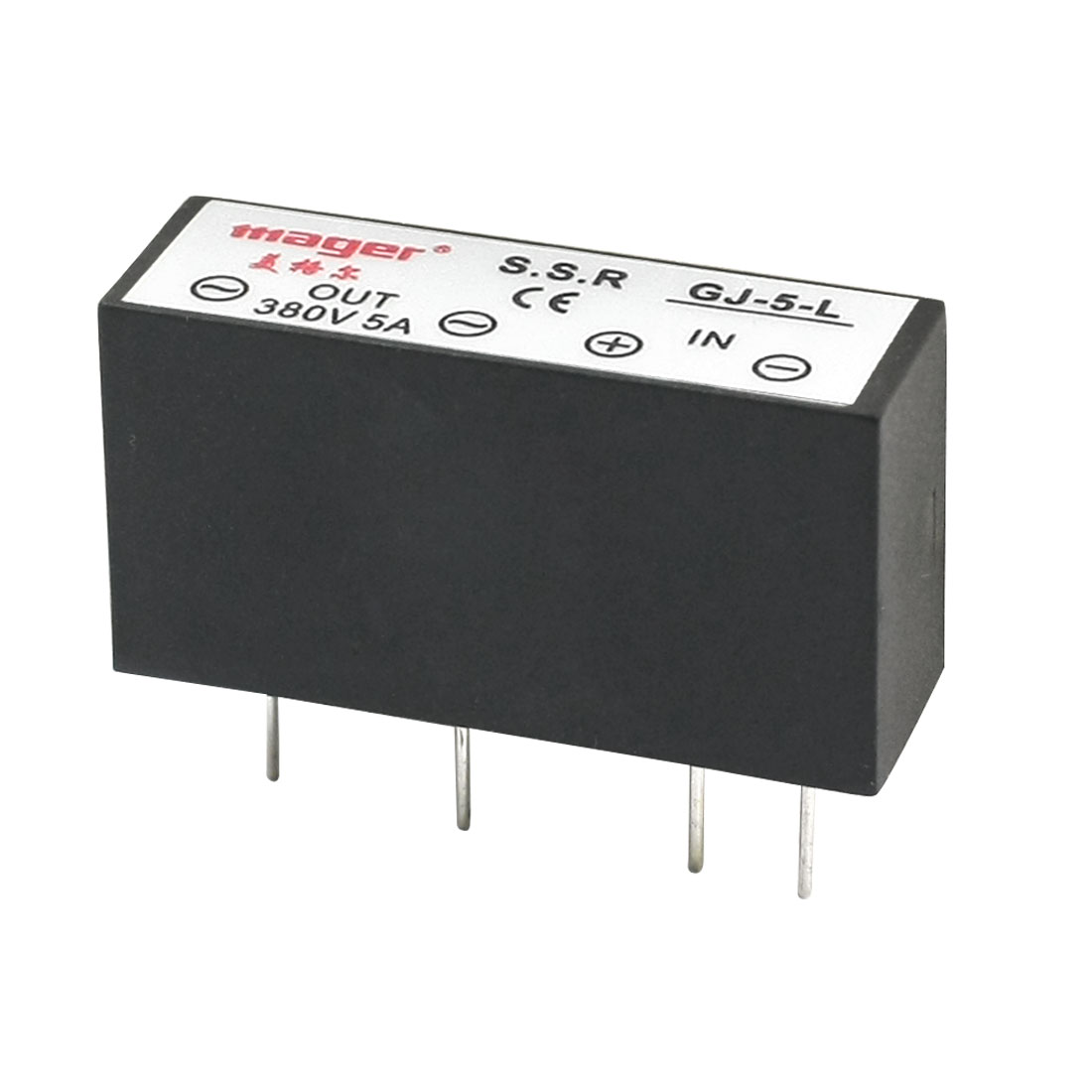 GJ-5-L DC3-32V Input AC380V 5A Output 4-Pin PCB Through Hole Mounting Rectangle One Phase PCB SSR Solid State Relay