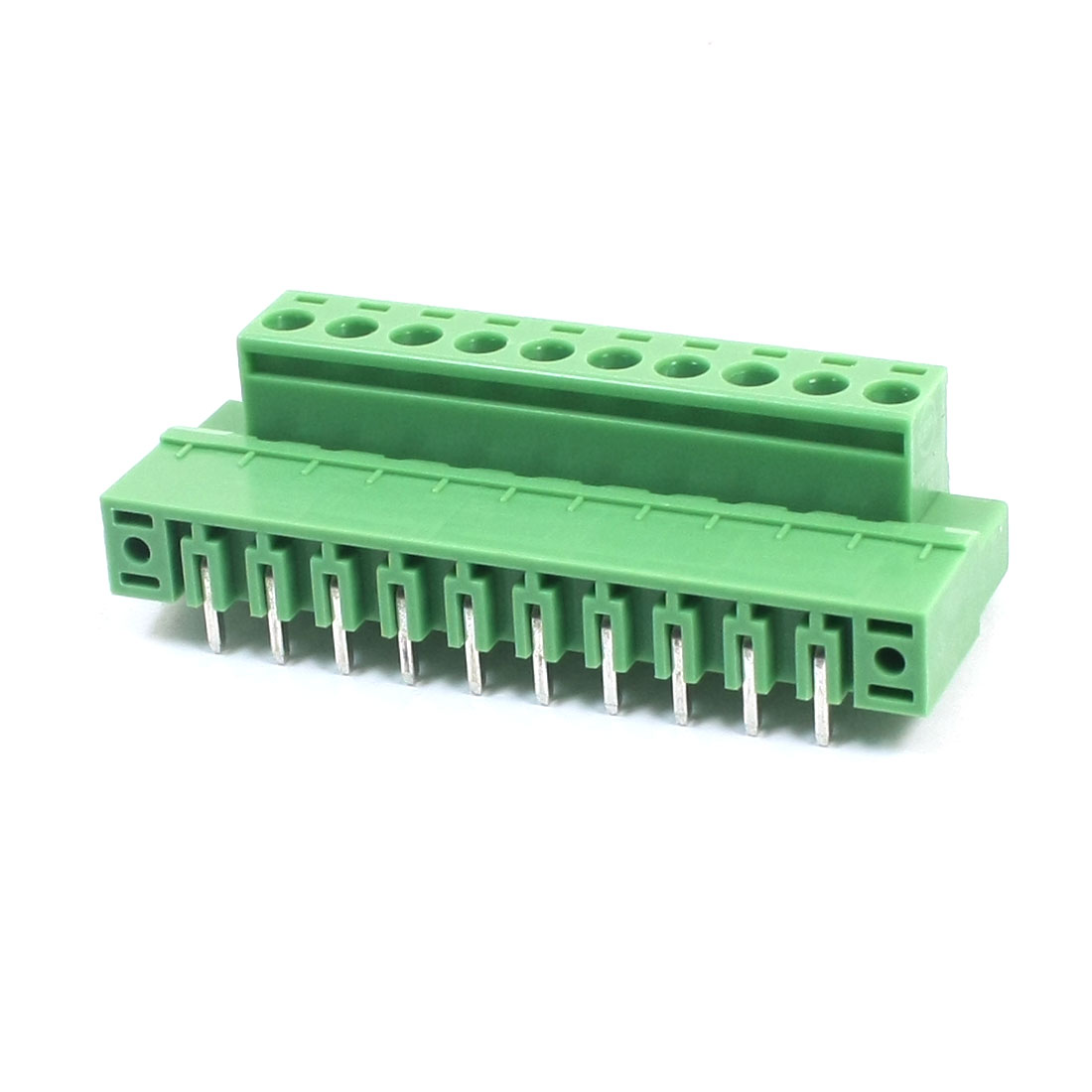 5.08mm Pitch 10-Pin 14-22AWG Pluggable Type PCB Mounting Green Plastic PCB Screw Terminal Block Connector