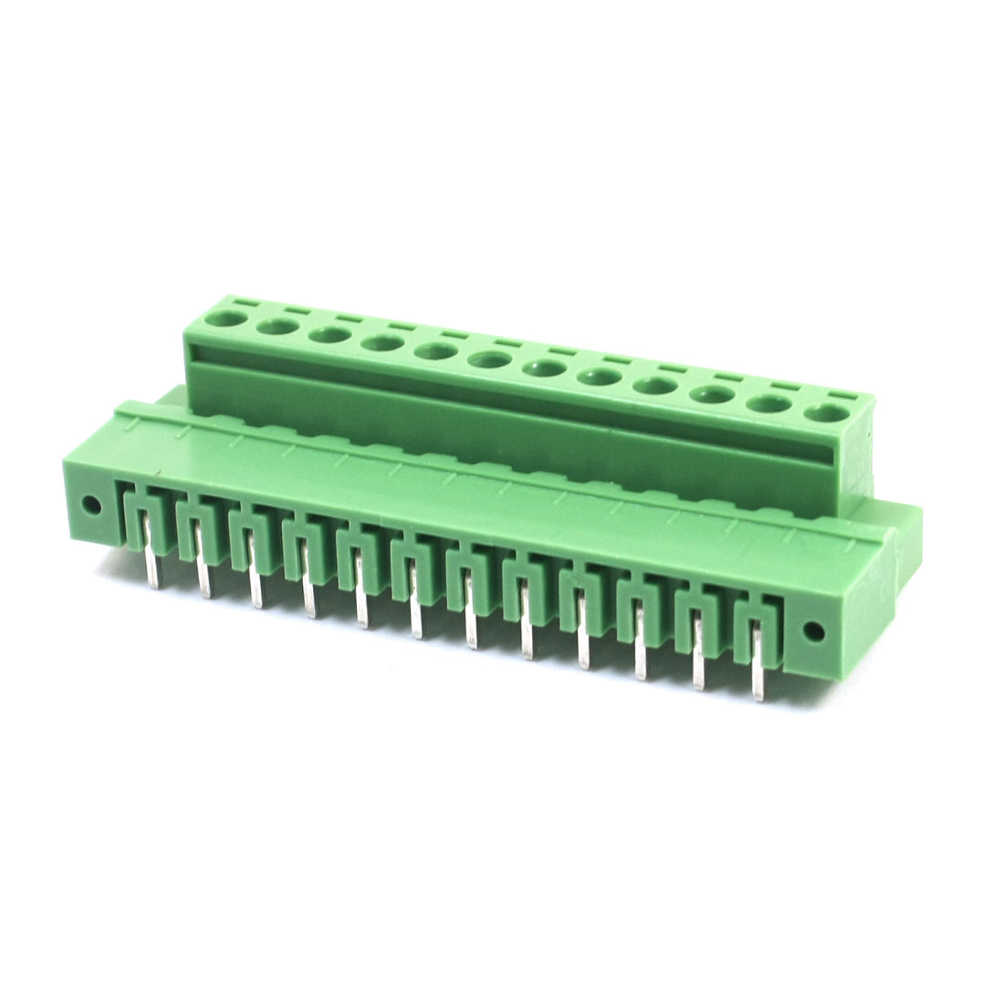 300V 10A 5.08mm Pitch 12Pin Green Plastic Right Angle Pluggable in Type PCB Mount Screw Terminal Barrier Block Connector