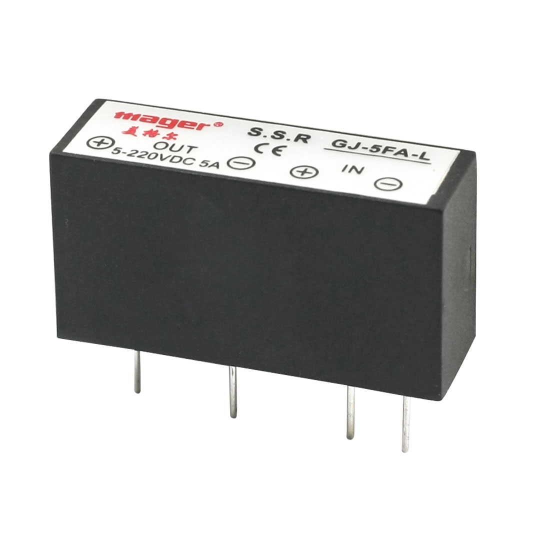 GJ-5FA-L DC-DC 3-32V 5-220V 5A 4Pin PCB Through Hole Mounting Normal Open Single Phase Rectangle SSR Solid State Relay