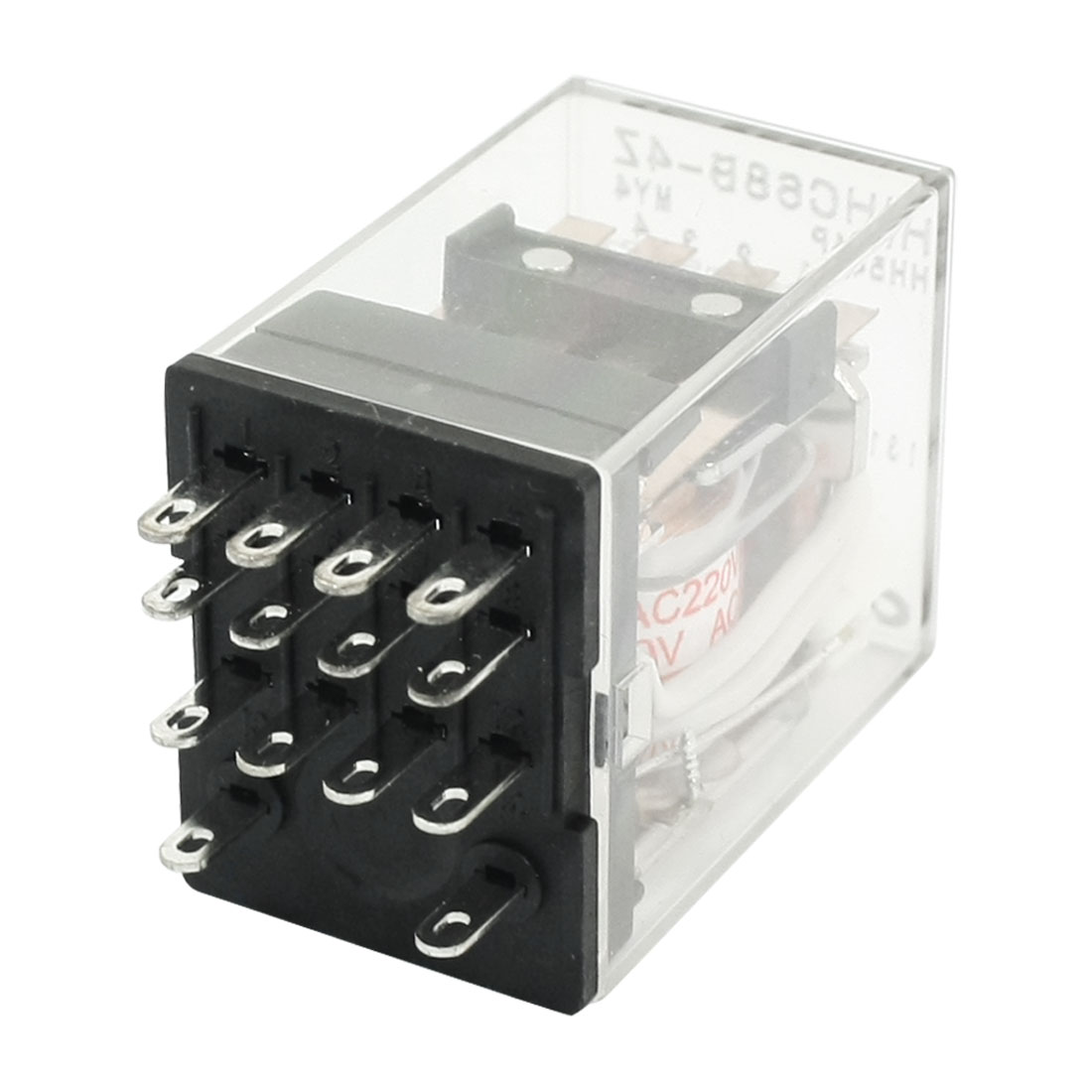 AC220V Coil Red LED Indicator Light 14Pin 4PDT Plug in Type Clear Plastic Case Power Relay HHC68B-4Z