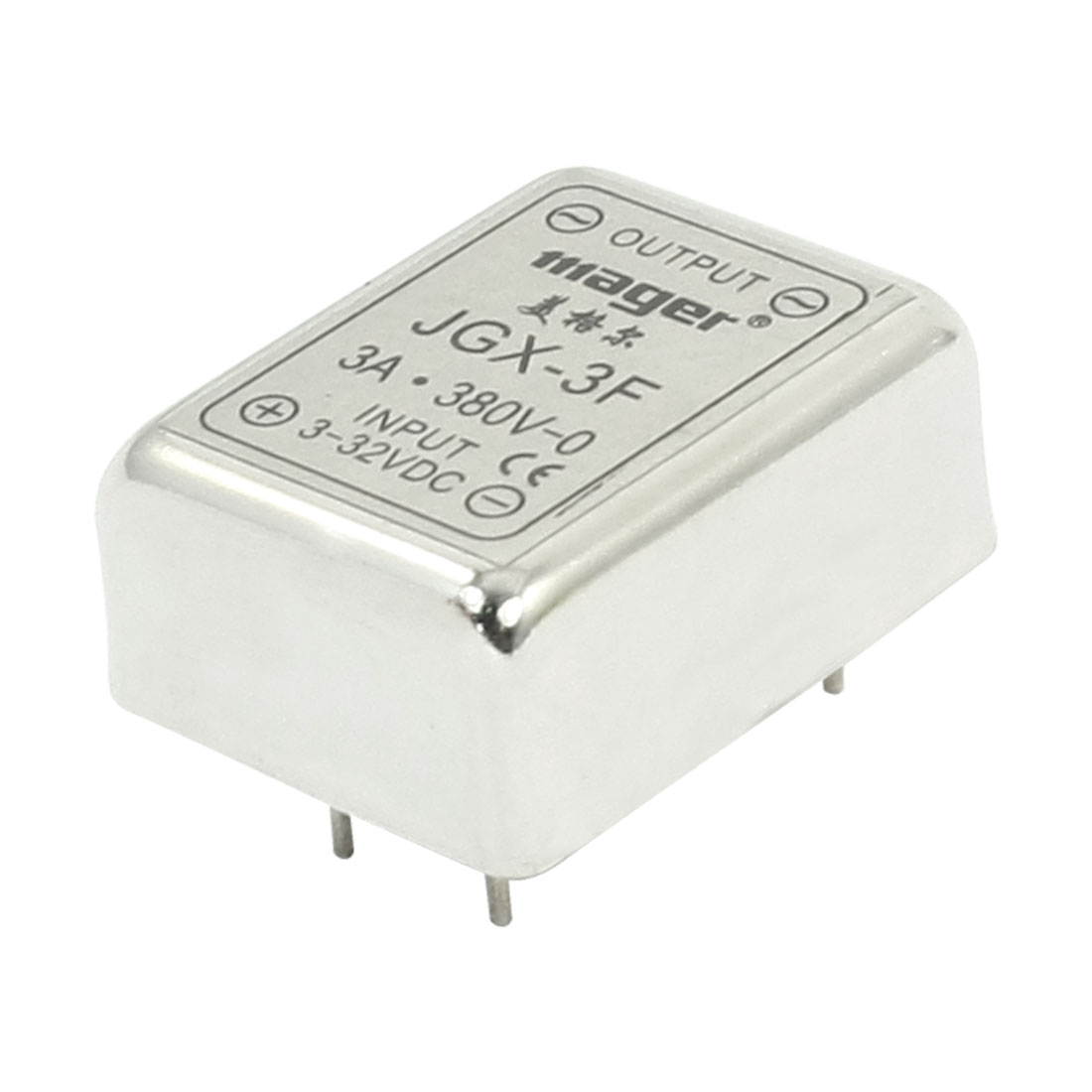 JGX-3F DC-DC 3-32V 380V 3A 4Pin PCB Through Hole Mount Single Phase Metal Base SSR Solid State Relay