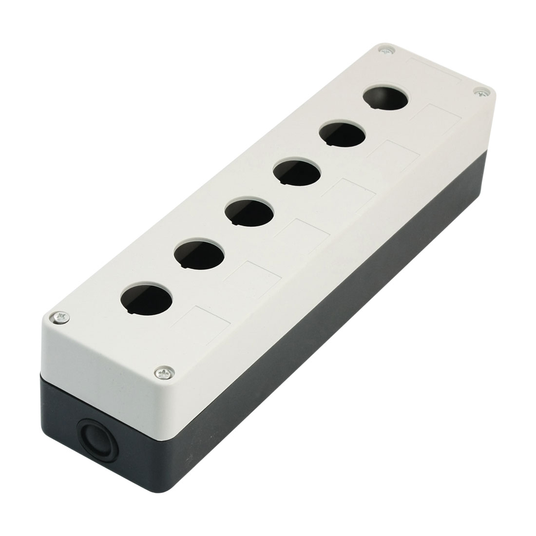 22mm Dia Hole 6 Station Rectangle White Black Plastic Push Button Switch Control Box Guard Cover Protector 270mm x 70mm x 65mm